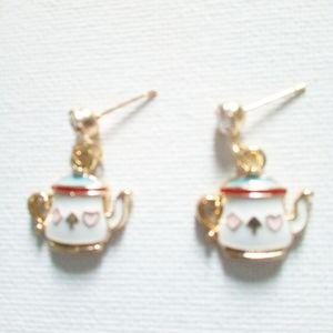 "New Betsey Johnson ""Alice""Square Teapot Earrings"